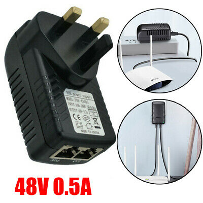 £4.99 • Buy POE Power Supply 48V 0.5A Injector Adapter UK Wall Plug Power Over Ethernet
