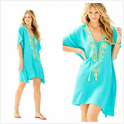 $50 • Buy NEW Lilly Pulitzer Chai Caftan Seaside Aqua XXS/XS S/M