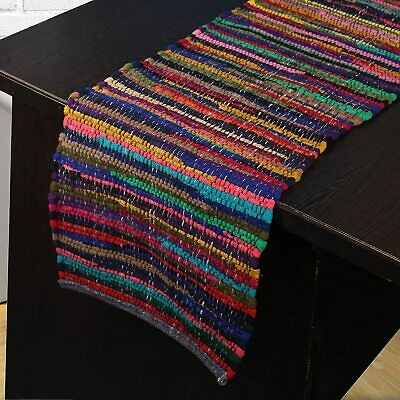 AU44.67 • Buy Indian Ethnic Vintage Dining Table Decoration Colorful Chindi Rag Table Runner