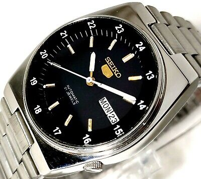 $ CDN68.93 • Buy Seiko 5 Japan Automatic Day Date 24 Hours Military Time Black Dial Mens Watch