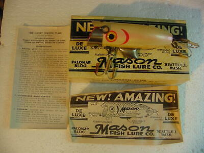 """$ CDN243.60 • Buy Vintage New In Box """"Mason's"""" Amazing Deluxe Wooden Salmon Plug, 4""""L Pearl Pink"""