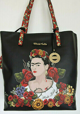 $71.99 • Buy FRIDA KAHLO FLOWER Series  Black Large Tote Shopping Bag W Coin Purse