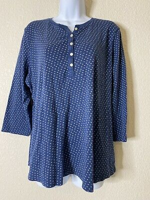 $11.20 • Buy Chaps Womens Size 1X Blue Micro Star Henley Shirt 3/4 Sleeve