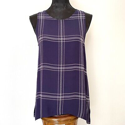 AU49 • Buy VIKTORIA AND WOODS || Plaid Pattern Navy Blue Top Size 0 NWOT