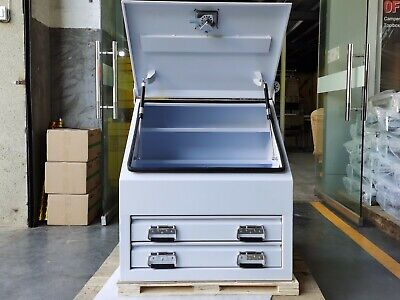AU739 • Buy White Steel Tool Box 700mm Truck Box Ute Box Industrial With 2 Drawers & Shelves