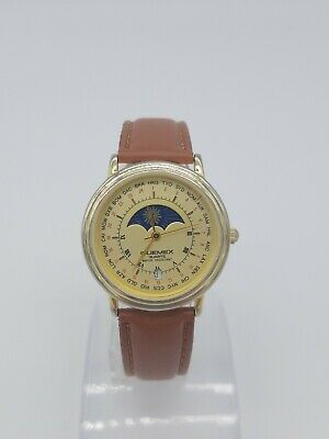 $ CDN95 • Buy Vintage Quemex Quartz Moon Phase Watch New Band And Battery RARE!