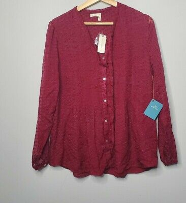 $ CDN47.61 • Buy New Anthropologie Meadow Rue Top Size Medium Shirt Rasberry NWT Silk
