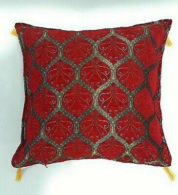 Turkish Peacock Tapestry Chenille Tassel Evil Eye Cushion Cover Deep Red Gold • 8.99£