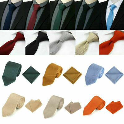 Men's Skinny Knit Tie Solid Knitted Woven Necktie Handkerchief Square Pocket Set • 8.99£