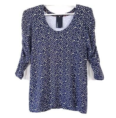 $ CDN29.82 • Buy Dolan Anthropologie Womens XL T Shirt Ruched Gathered 3/4 Sleeve Scoop Neck Navy