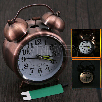 RED METAL Retro Loud Double Bell Mechanical Keywound Alarm Clock Decor Xmas • 9.66£