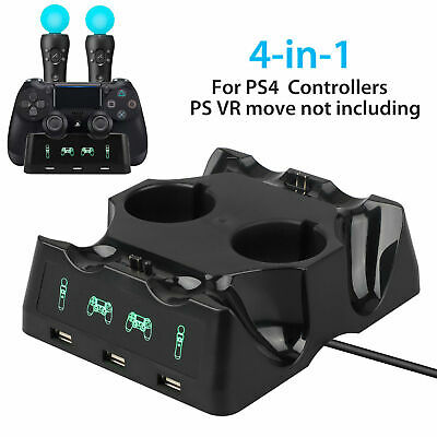 AU19.31 • Buy 4 In 1 Charger Charging Dock Holder Stand Station For PS4 PS Move Controller VR