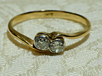 £269.99 • Buy Vintage 18ct Gold Diamond .2ct Two Stone Crossover Engagement Ring 2gm Boxed