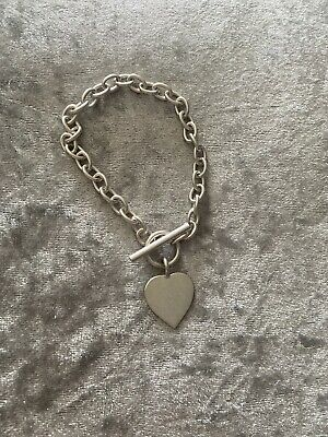 Hall Marked 925 Silver T Bar Bracelet With Heart  • 25£