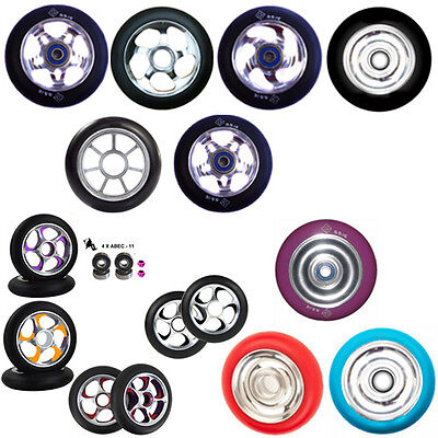 2 PRO STUNT SCOOTER SILVER CHROME METAL CORE WHEELS 100mm 110mm ABEC 11 BEARINGS • 24.99£