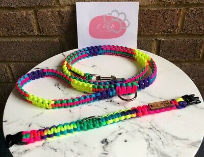 Handmade Paracord 'Park Wander In Tropical Days' Dog Collar & Lead Set • 28£
