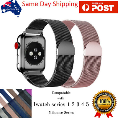 AU14.95 • Buy Milanese Loop Strap For Apple Watch Band 44 Mm 42mm Watchband Link Brace AU