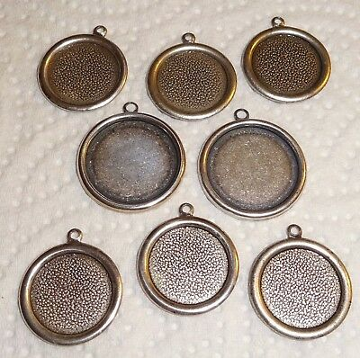 8 X Vintage Brass Cameo Pendant Settings - 15 &18mm - Antiqued Silver - US Made • 2.25£