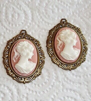 3 X Handmade Cameo Pendants - Made With Vintage Antiqued Brass Settings 38/40mm • 4.25£