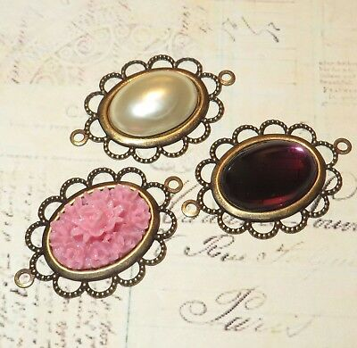3 X Handmade Vintage Antiqued Brass Connector Cameo Settings - Pendants  • 3.99£