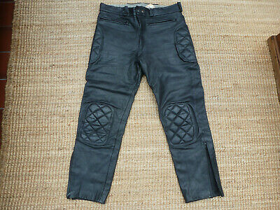 Crusader Ex Police Black Leather Motorcycle Trousers • 12.50£