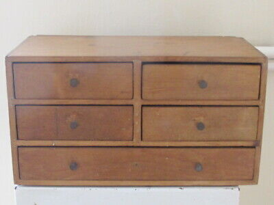 Antique Old Solid Wooden Pine Table Top Collectors Chest Of Drawers Cabinet Box • 98£