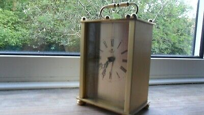 Attractive German-made Quartz Action Carriage Clock - Gold Coloured Metal Case. • 4.90£