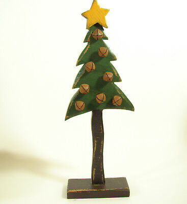$ CDN32.96 • Buy Distressed Wood Christmas Tree Rusty Bells Hand Crafted Tall Skinny Old Vintage