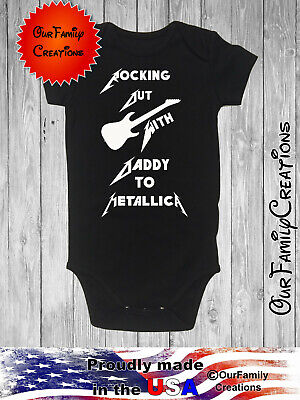 £11.26 • Buy Metallica Rocking Out With Daddy Baby Gerber Onesie Bodysuit