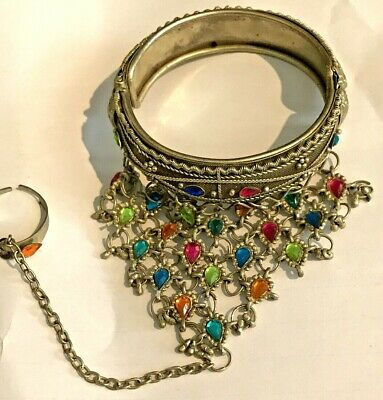 Boho Bracelet Cuff Indian Silver With Attached Ring UK Seller Fast Delivery • 8£