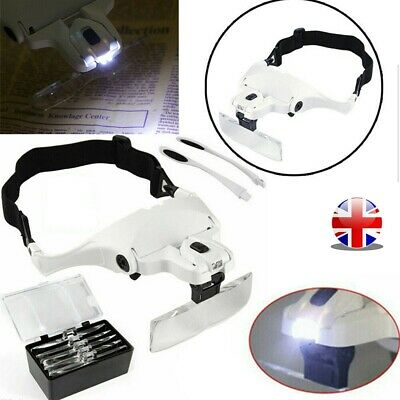 £10.26 • Buy LED Head Magnifying Glasses Headset With Light Handsfree Headband Magnifier UK
