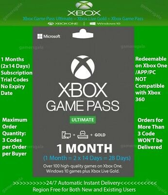 $ CDN3.36 • Buy Xbox Live Gold + Game Pass (Ultimate) 1 Month (2x 14 Days) Code Instant Delivery