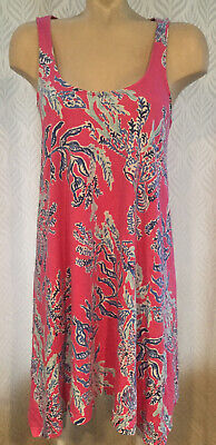 $34 • Buy Lilly Pulitzer Pink Multi-Color Coral Reef Print SAMBA MONTEREY TANK Dress Small