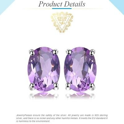 1.4ct Genuine Amethyst Stud Earrings 925 Sterling Silver UK Seller • 11.49£