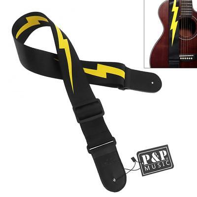 $ CDN9 • Buy 1pcs Adjustable Guitar Strap Yellow Lightning Pattern With Genuine Leather Head