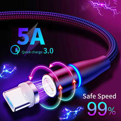 $ CDN6.47 • Buy 5A 360° Magnetic Cable Fast Charger Type C USB-C Cable For Samsung Galaxy S10 S9