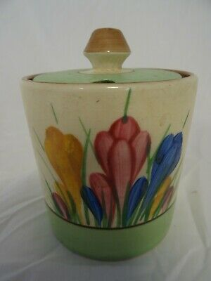 Clarice Cliff Crocus Jam Sugar China Round Pot With Lid Royal Staffordshire Ch • 29.90£