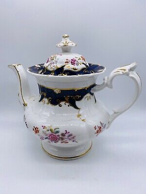Ridgway 2/5709 Rare Chantilly Pattern Blue And Gold Antique China Teapot C.1810 • 35£