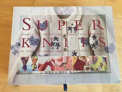 Super Knits Sewing Kit - Includes Techniques, Project Books, Yarn, Needles - NEW • 5.50£