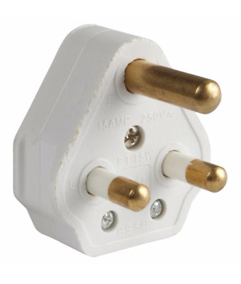 15A White Round 3 Pin Mains Plug, BS546/A 15 Amp, For Stage & Theatre Lighting • 3.79£