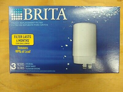 Brita Tap Water Filter Faucet Filtration System Replacement Filters 3 Pack White • 27.06£