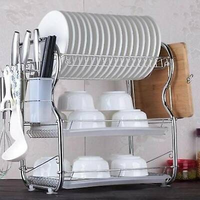 3 Tier Chrome Coated Dish Drainer Holder Sink Rack Drip Tray Plates Cutlery Cups • 14.99£