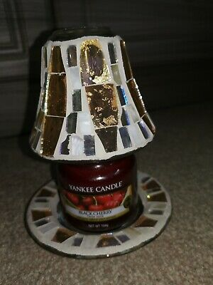 Yankee Candle Gold Wave Small Jar Shade And Tray And Small Black Cherry Jar • 13£