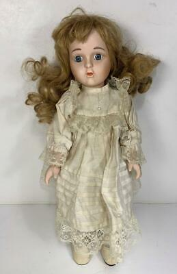 $ CDN12.03 • Buy Porcelain Victorian Antique Style Doll 14.5  Blond Hair Blue Eyes Unmarked
