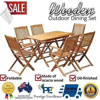 AU452.97 • Buy Outdoor Dining Furniture Chairs Patio Garden Table 7 Piece Setting Folding Chair