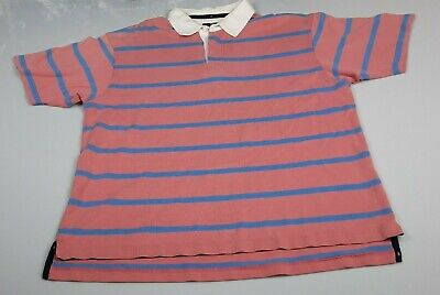 Mens Large Blue Harbour Marks And Spencer Striped Polo Shirt Button Up Pullover • 12.99£