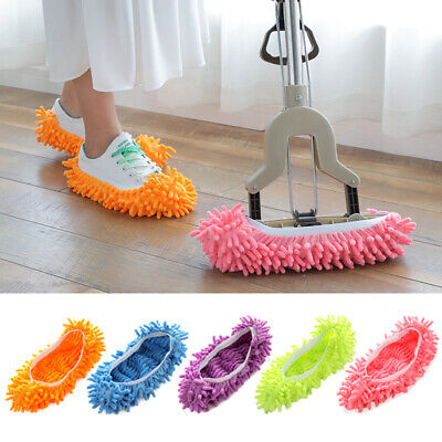 2PCS Microfibre Duster Shoe Sock Slippers Mop Dust Remover Cleaning Floor UK • 5.89£