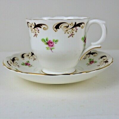 Crown Staffordshire Wentworth Cup & Saucer Pink Rose Pattern English Bone China  • 5£