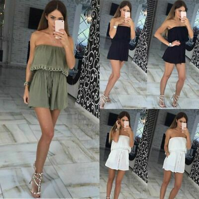 Women Ladies Playsuit Jumpsuit Leaf Mini Shorts Bandeau Elasticated Off Shoulder • 8.68£