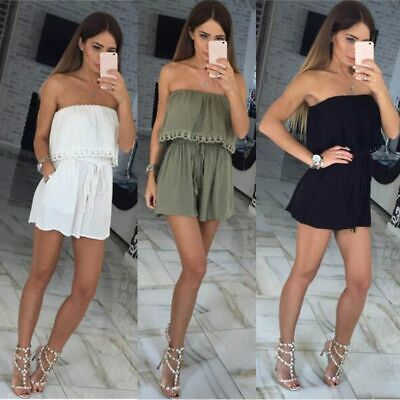 Ladies Womens Playsuit Jumpsuit Leaf Shorts Bandeau Elasticated Summer Holiday  • 8.68£